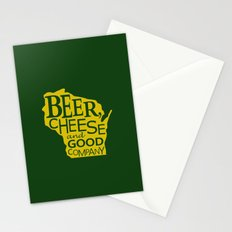 Green and Gold Beer, Cheese and Good Company Wisconsin Stationery Cards