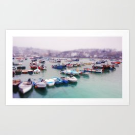 Foggy boats in St Ives Art Print