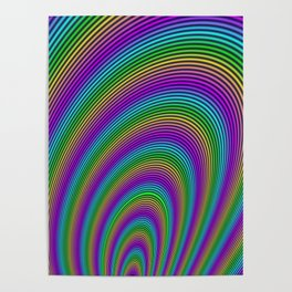 Fractal Rainbow Tunnel Poster