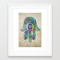 hamsa Framed Art Prints featuring Hamsa by Klara Acel