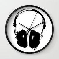 headphones Wall Clocks featuring HEADPHONES by by INK! - Sandie Dolleris Thomsen