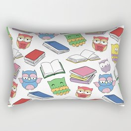 Books and Owls Colorful Print Rectangular Pillow