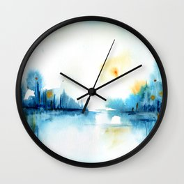 watercolor abstract landscape Wall Clock