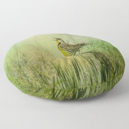 The Meadow Lark Sings Floor Pillow