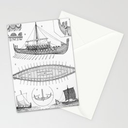 Vintage Viking Naval Ship History and Diagram Stationery Cards