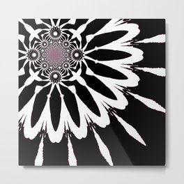 The Modern Flower Black White Pink Metal Print