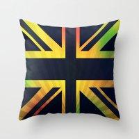 british flag Throw Pillows featuring RASTA BRITISH FLAG by shannon's art space