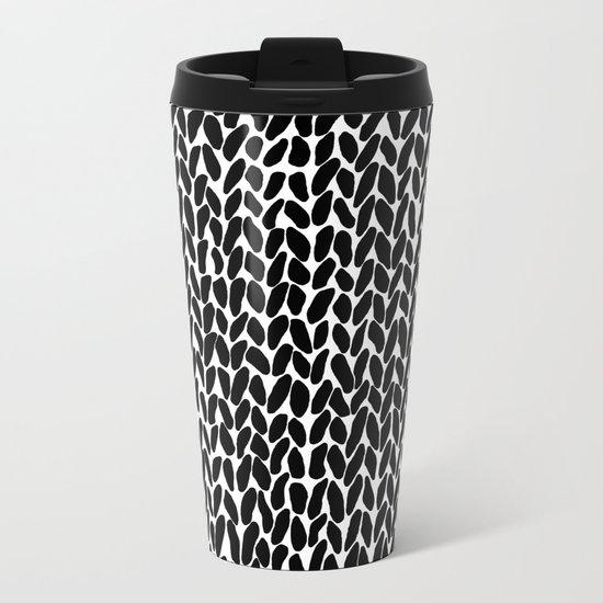 Hand Knitted Black S Metal Travel Mug