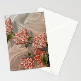 """Coral flowers on white silk"" (Air Spring) Stationery Cards"
