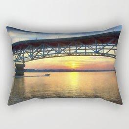 Sunset Under the Coleman Bridge Rectangular Pillow