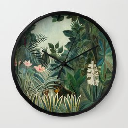 The Equatorial Jungle by Henri Rousseau, fine french art Wall Clock