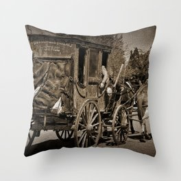 Tombstone Stagecoach Throw Pillow