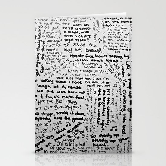 Song Lyrics Stationery Cards
