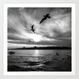 Istanbul : A Fusion of Black and White Art Print