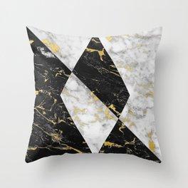 Diamond // Gold Flecked Black & White Marble Throw Pillow