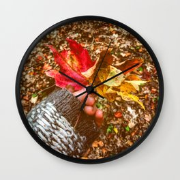 Breathe out grief and in discrimination Wall Clock