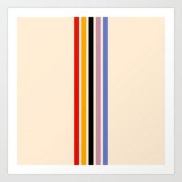 Colorful Retro Stripes Beige III Art Print