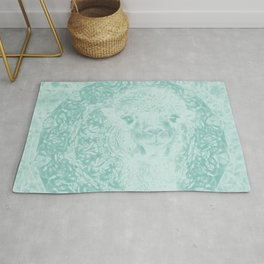 Happy Ghostly alpaca and mandala in Limpet Shell Blue Rug