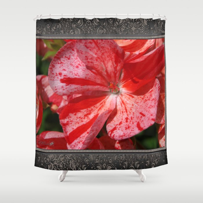 Zonal Geranium named Mosaic Red Shower Curtain