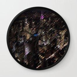 Midtown Manhattan Night Scene Skyline Landscape by Jeanpaul Ferro Wall Clock