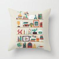 budi Throw Pillows featuring The shelf by Picomodi