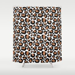 Leopard Metal Glamour Skin on white Shower Curtain