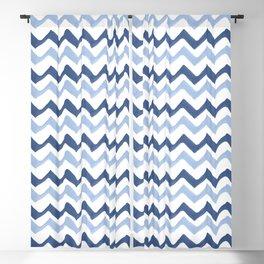 Wavy Brush Stroke Pattern Indigo & Pale Blue Blackout Curtain