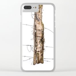 Barbed wire & Fence Post (in the snow) Clear iPhone Case