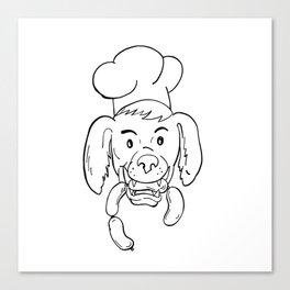 Chef Dog Biting Sausage String Cartoon Black and White Canvas Print
