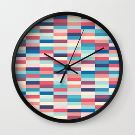 Blue and pink stripes Wall Clock