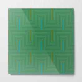 Doors & corners op art pattern in olive green and aqua blue Metal Print