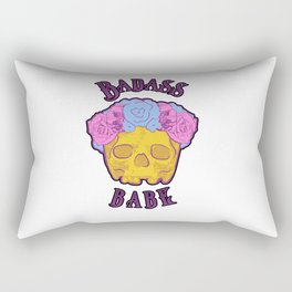 Badass Babe Flower Crown Skull Print Rectangular Pillow