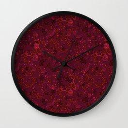 Red festive confetti. Red glitter. Wall Clock