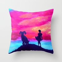 aries Throw Pillows featuring Aries by Krista May