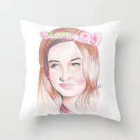 karen Throw Pillows featuring Karen Gillan by Gillian McMahon