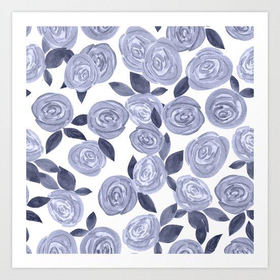 Blue watercolor roses. r2 Art Print