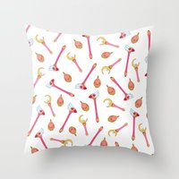 magical girl Throw Pillows featuring Magical Girl Weapons by mimia