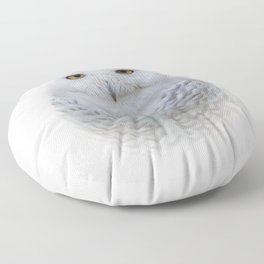 Dreamy Encounter with a Serene Snowy Owl Floor Pillow