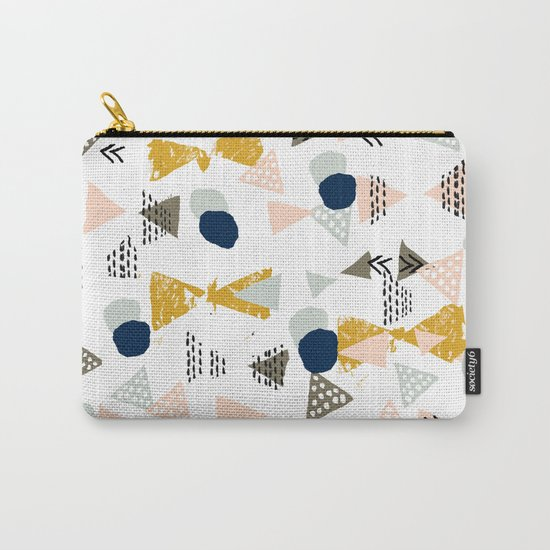 Minimal modern color palette navy gold abstract art painted dots pattern Carry-All Pouch