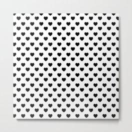 black and white seamless hearts Metal Print