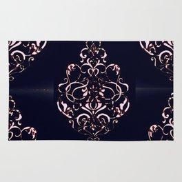 Blush Pink Ornamental Pattern on Navy Distressed Background Rug