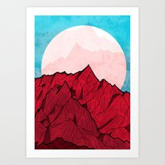 Red mountains under the great moon Art Print