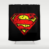superman Shower Curtains featuring Superman by sambeawesome