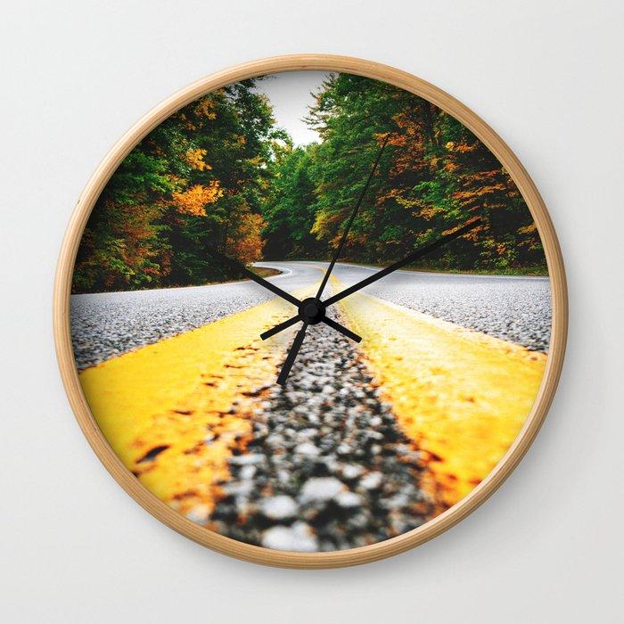 autumn road Wall Clock