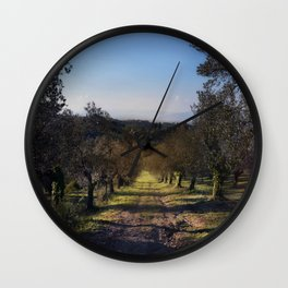 the way among the olive trees Wall Clock