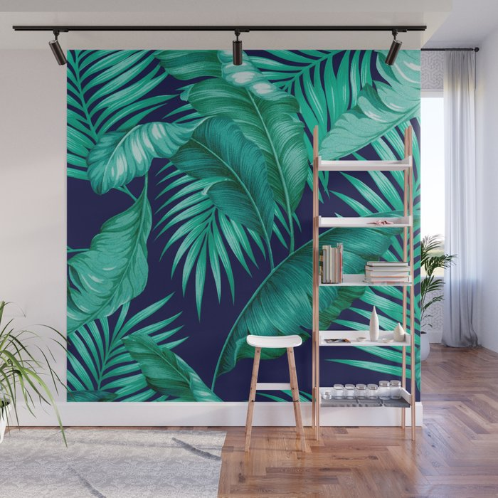 HAWAIIAN GARDEN TROPICAL LEAVES | Turquoise Navy Wall Mural