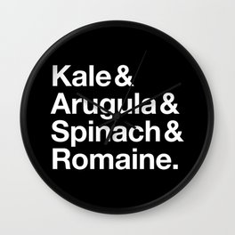Kale & Arugula & Spinach & Romaine. Wall Clock