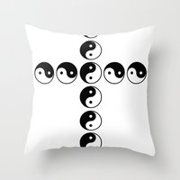 ying yang Throw Pillows featuring YING YANG by LOLZZ