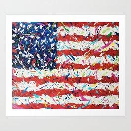 Born on the 4th of July, US Confetti Flag Art Print
