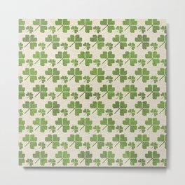 Irish Shamrock clover  pattern Metal Print